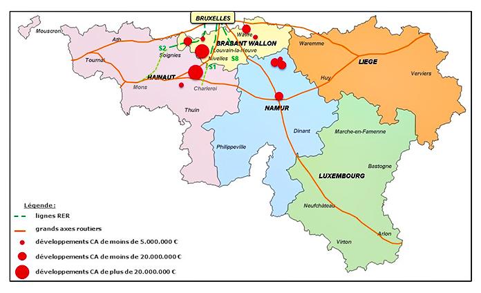 Zest RED Localisation des projets en portefeuille en développement immobilier